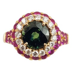 Round Cut Green Sapphire, Pink Sapphire and Diamond Ring Set in 18K Rose Gold