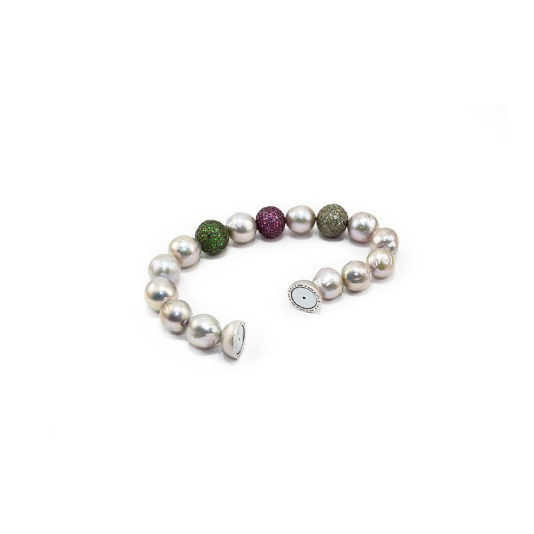 Artisan Green Sapphires, Rubies and Tsavorite Pave, Pearls and Silver Clasp For Sale