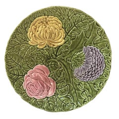 Green Sarreguemines Platter with Large Majolica Flowers, circa 1900