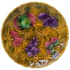 Majolica Platter with Fruits Sarreguemines, circa 1930