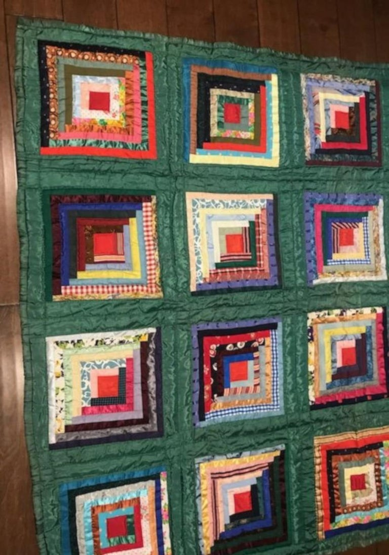Hand-Crafted Green Satin Log Cabin Quilt For Sale