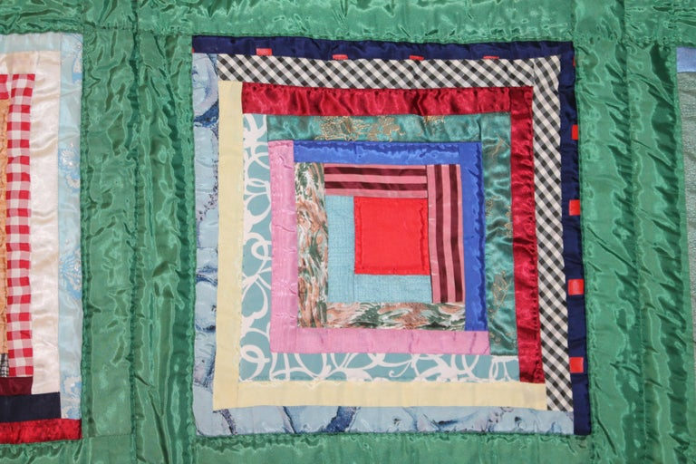 Mid-20th Century Green Satin Log Cabin Quilt For Sale