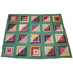 Green Satin Log Cabin Quilt
