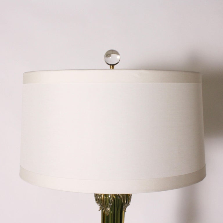 Glass Green Seguso for Marbro Lamp with Gold Leaves, circa 1960 For Sale