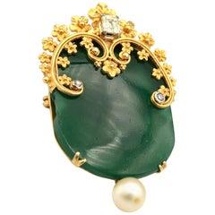 Green Semi Precious Gemstone, Diamonds and Pearl Brooch Pin