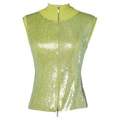 Green sequins sporty vest Who's Who