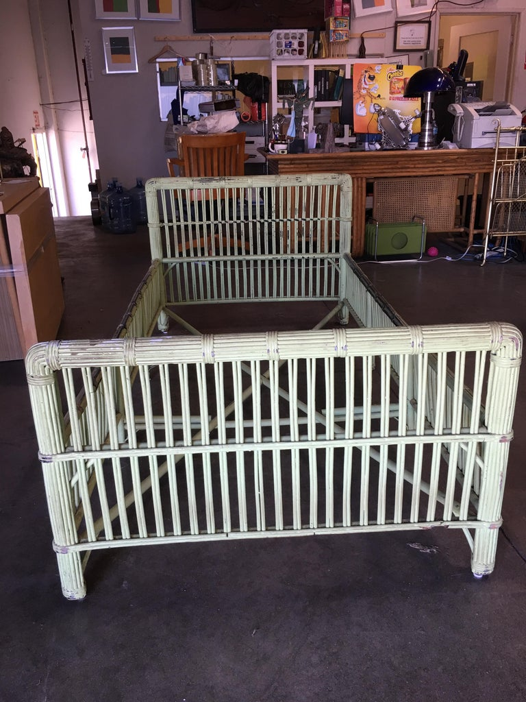 Green Shabby Chic Stick Rattan Twin Size Sleigh Bed Frame ...