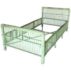 Green Shabby Chic Stick Rattan Twin Size Sleigh Bed Frame