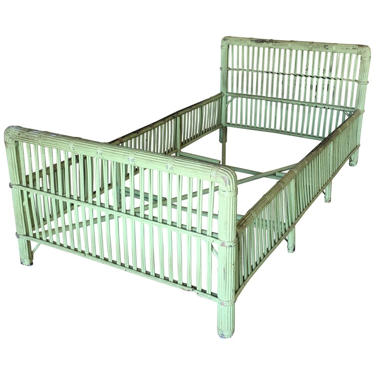 Green Shabby Chic Stick Rattan Twin Size Sleigh Bed Frame For Sale