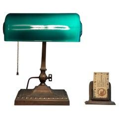 Green Shade Banker's Desk Lamp by Verdelite, ca. 1918