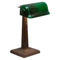Green Shade Banker's Lamp Signed Verdelite
