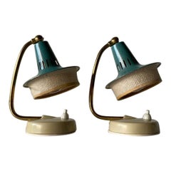 Green Shade & Brass Pair of Bedside Lamps by Hillebrand, 1950s, Germany