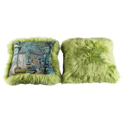 Green Sheepskin and Exclusive Fabric Pillow