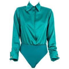 Green silk body shirt NWOT