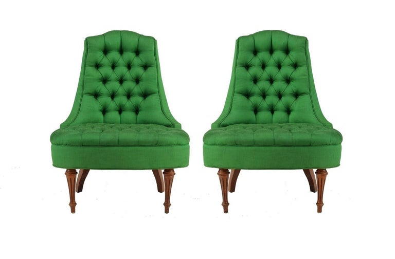 American Green Silk Hollywood Regency Style Tufted Chairs