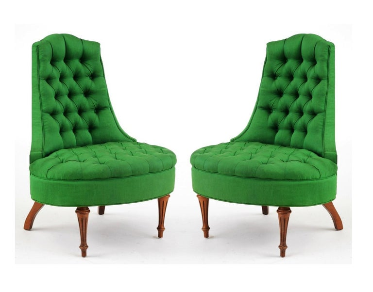 Green Silk Hollywood Regency Style Tufted Chairs In Good Condition In Dallas, TX