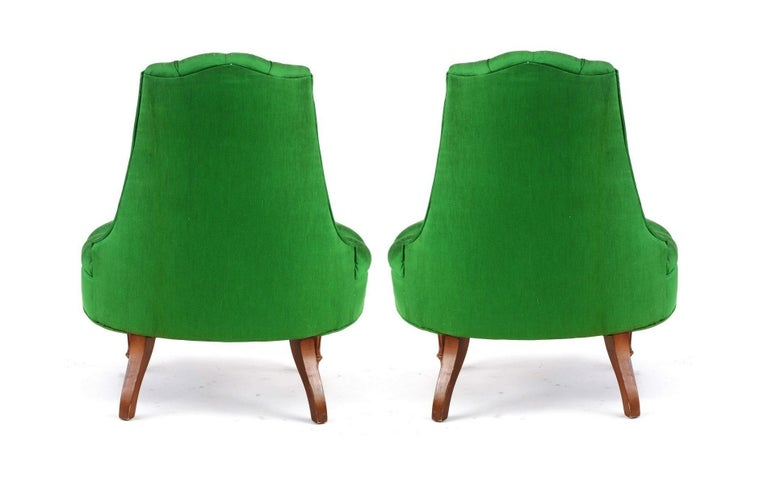 20th Century Green Silk Hollywood Regency Style Tufted Chairs