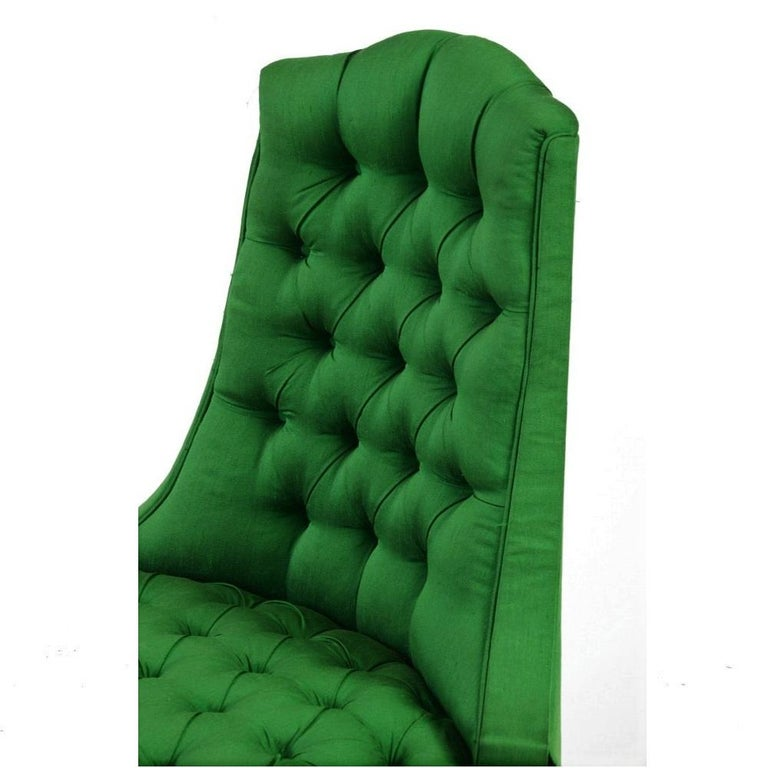 Upholstery Green Silk Hollywood Regency Style Tufted Chairs