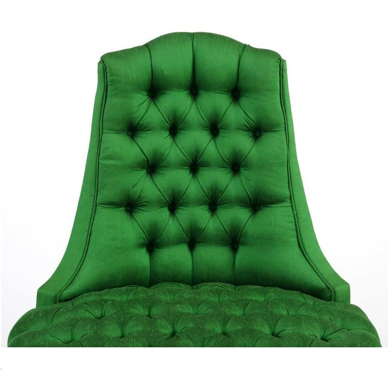 Green Silk Hollywood Regency Style Tufted Chairs 1