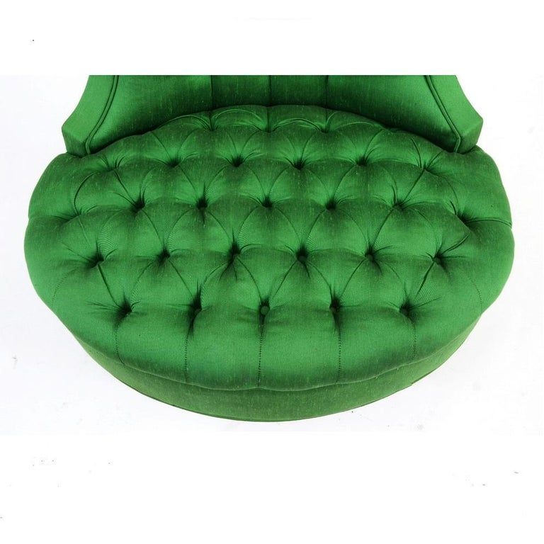 Green Silk Hollywood Regency Style Tufted Chairs 2
