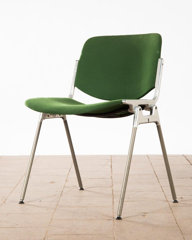 Aluminum Green Stackable Chairs by Giancarlo Piretti for Castelli For Sale