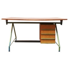 Italian mid-century green steel, laminate and teak desk, 1950s