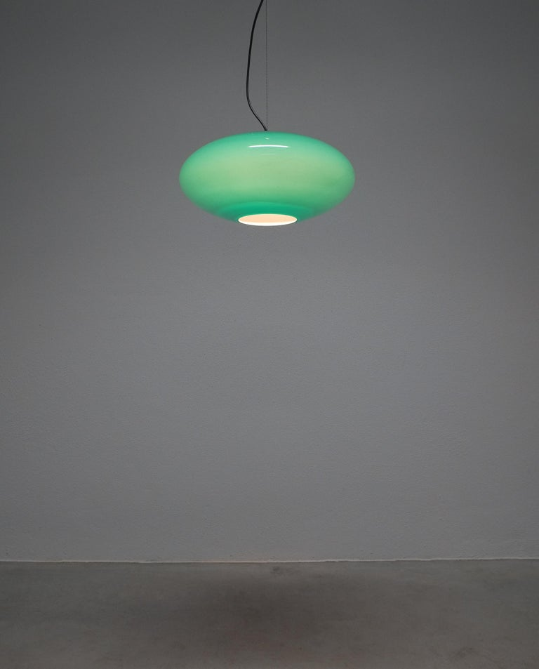 Lacquered Green Stilnovo Glass Ball Pendant Lamp, Midcentury, Italy For Sale