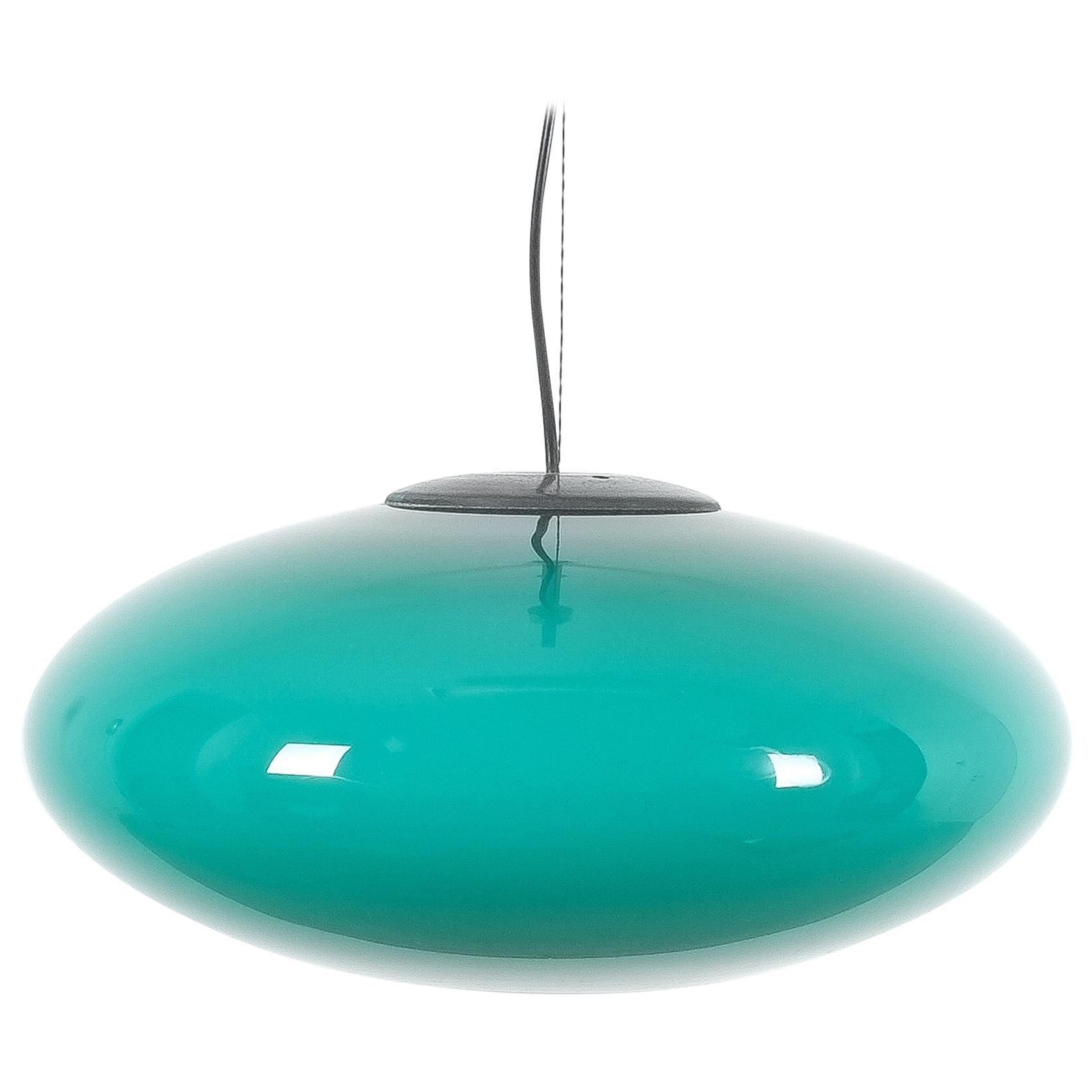 Green Stilnovo Glass Ball Pendant Lamp, Midcentury, Italy