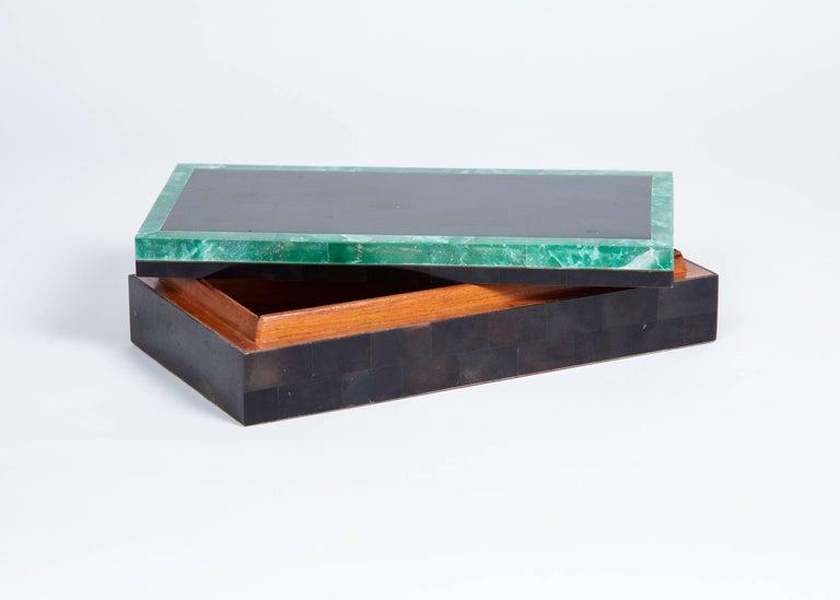 Tessellated horn box with green stone border on top. Mahogany lined interior and felt bottom. Maitland Smith, 1980s.