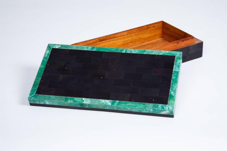 Mid-Century Modern Green Stone Bordered Tessellated Horn Box For Sale