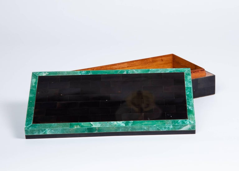 Hand-Crafted Green Stone Bordered Tessellated Horn Box For Sale
