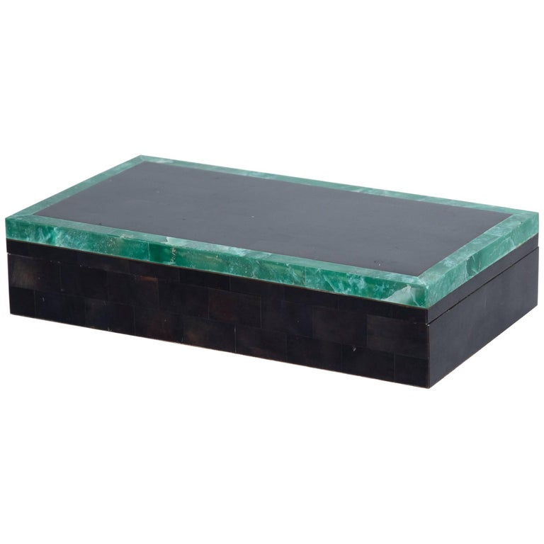 Green Stone Bordered Tessellated Horn Box For Sale