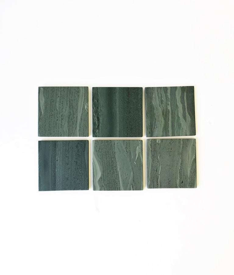 Minimalist Green Stone Coaster Set For Sale