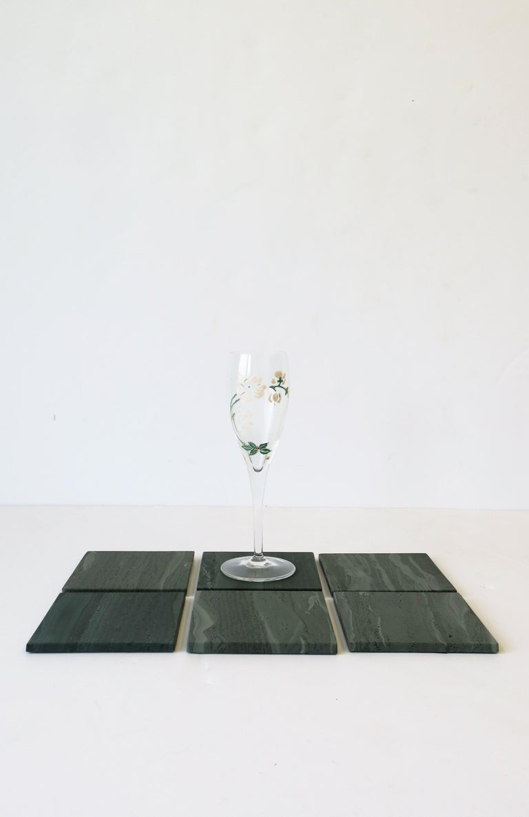 Unknown Green Stone Coaster Set For Sale