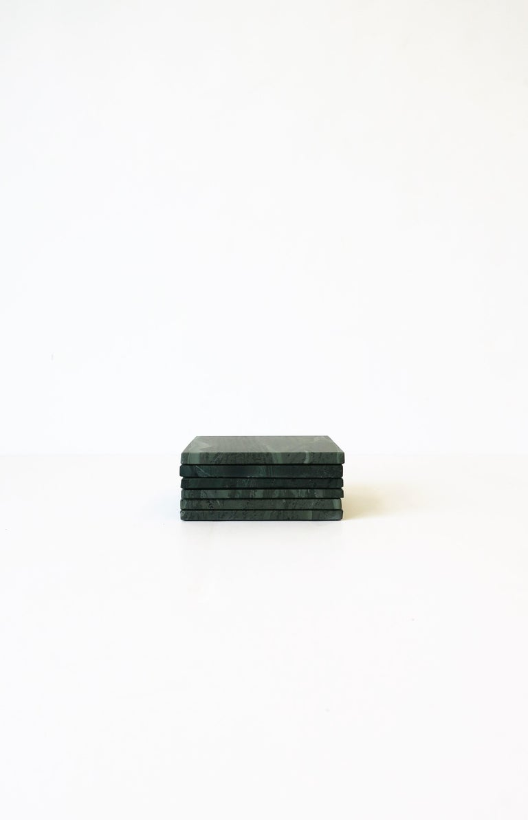 Contemporary Green Stone Coaster Set For Sale