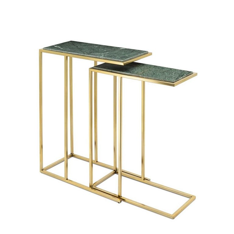 Sidetable green stone set of 2 with structure in gilded metal an with tops in green natural stone. A/ L58xD21xH45cm. B/ L63xD25xH50cm.