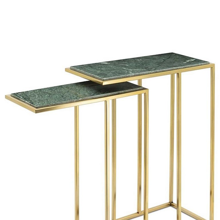 Italian Green Stone Set of 2 Side Table in Gold Finish For Sale