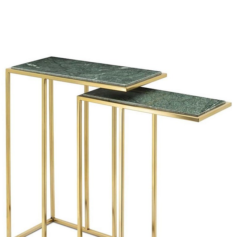 Hand-Carved Green Stone Set of 2 Side Table in Gold Finish For Sale