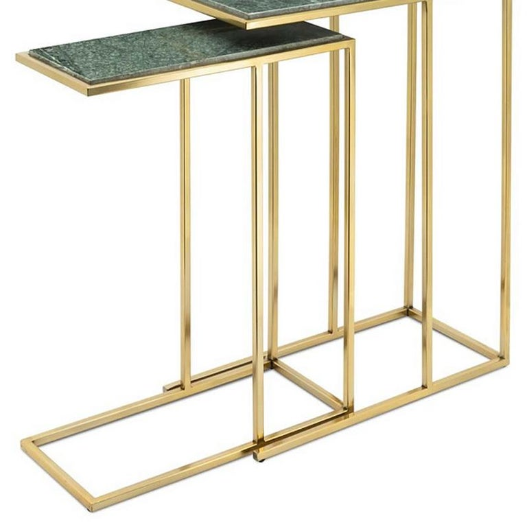 Green Stone Set of 2 Side Table in Gold Finish In New Condition For Sale In Paris, FR