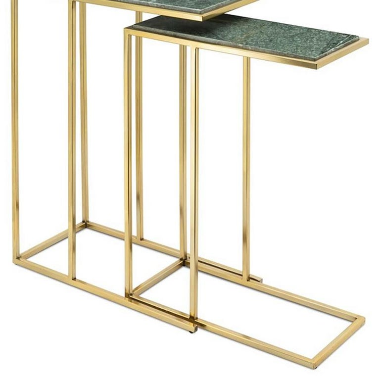 Contemporary Green Stone Set of 2 Side Table in Gold Finish For Sale