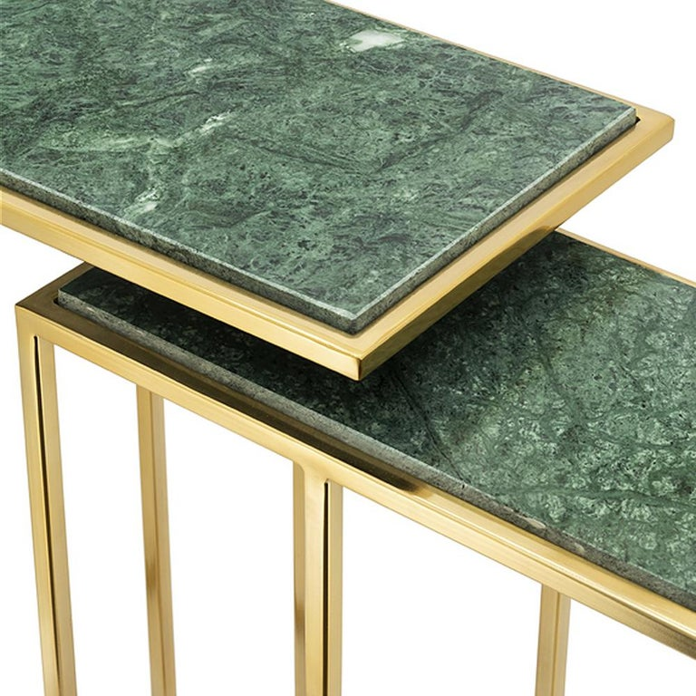 Metal Green Stone Set of 2 Side Table in Gold Finish For Sale