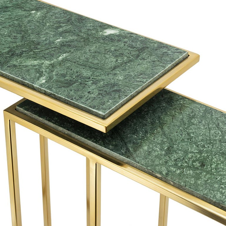 Green Stone Set of 2 Side Table in Gold Finish For Sale 1
