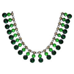 Green Strass Necklace, Gablonz Rhinestone Collier, Art Deco, Germany 1920 ´s