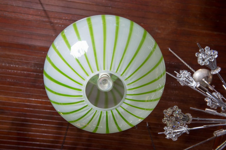 Green Striped Murano Glass Chandelier/Pendant For Sale 6