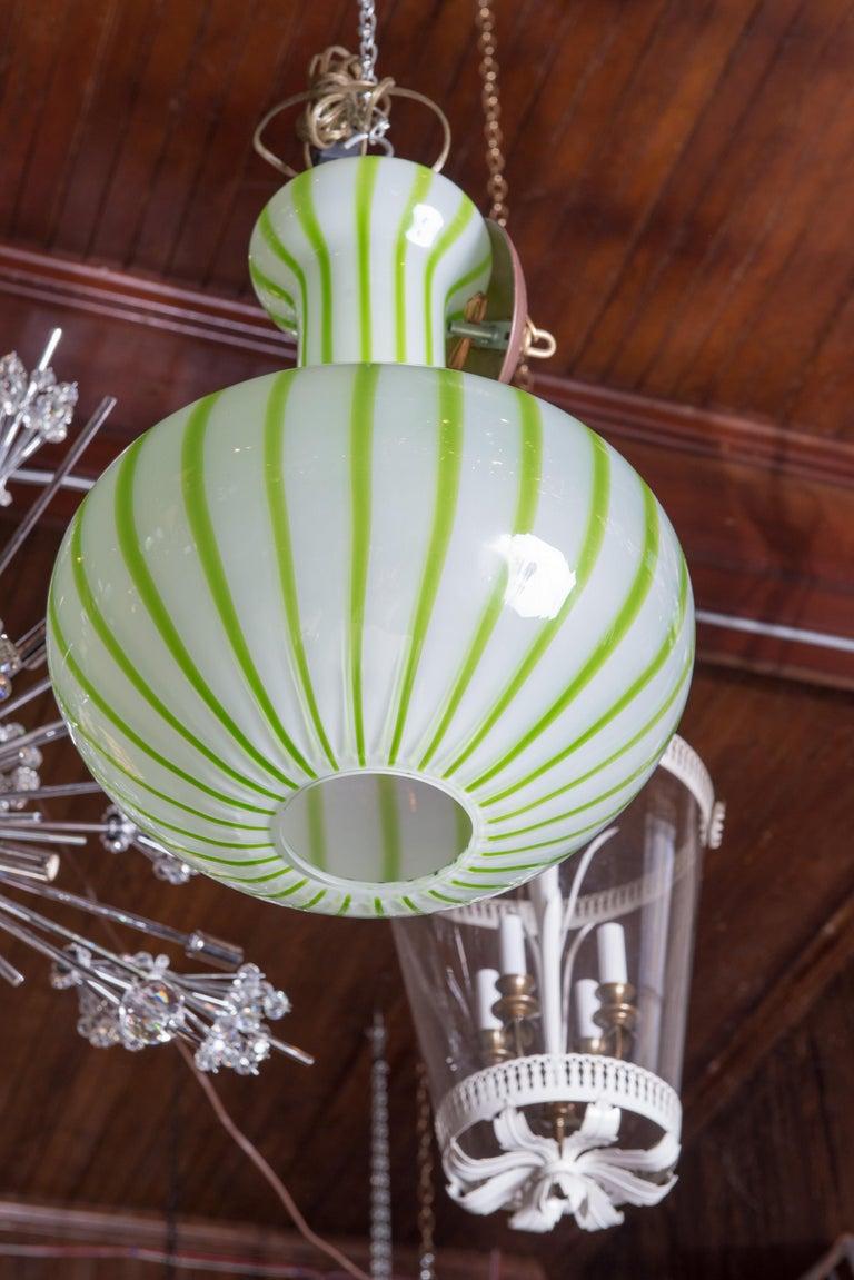 Italian Green Striped Murano Glass Chandelier/Pendant For Sale
