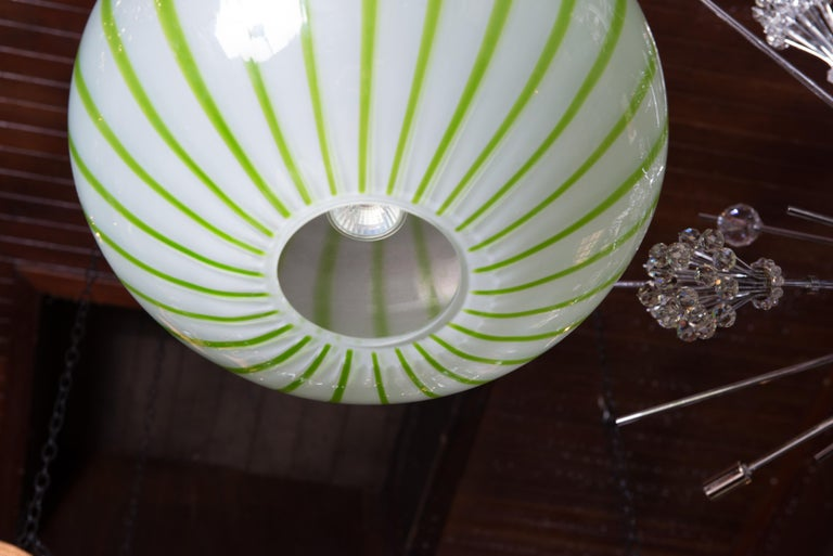 Mid-20th Century Green Striped Murano Glass Chandelier/Pendant For Sale
