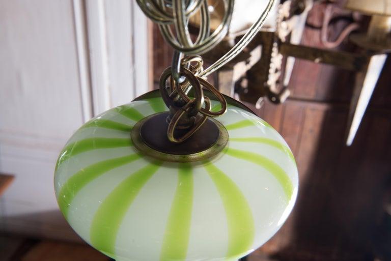 Green Striped Murano Glass Chandelier/Pendant For Sale 2