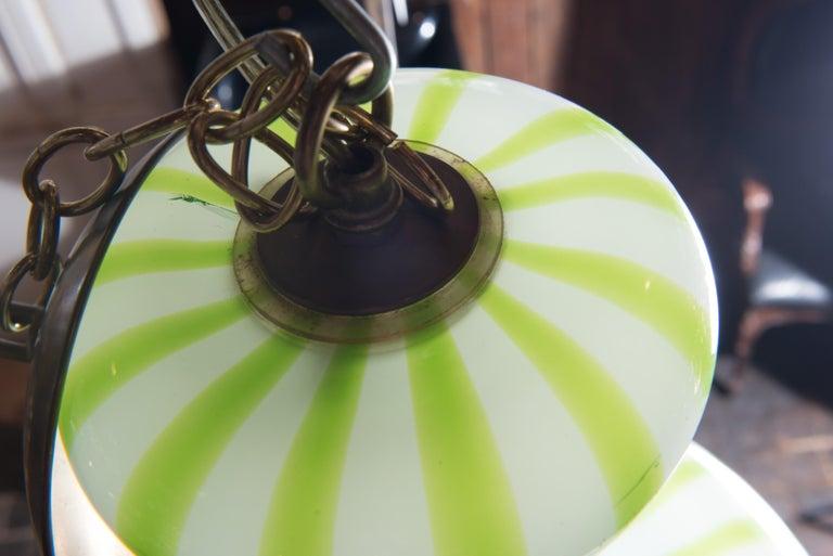Green Striped Murano Glass Chandelier/Pendant For Sale 3