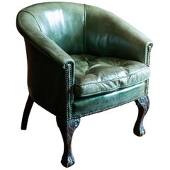 Green Studded Leather and Mahogany Tub Chair