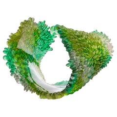 Green Summer, a Unique Textured Green Glass Sculpture by Nina Casson McGarva